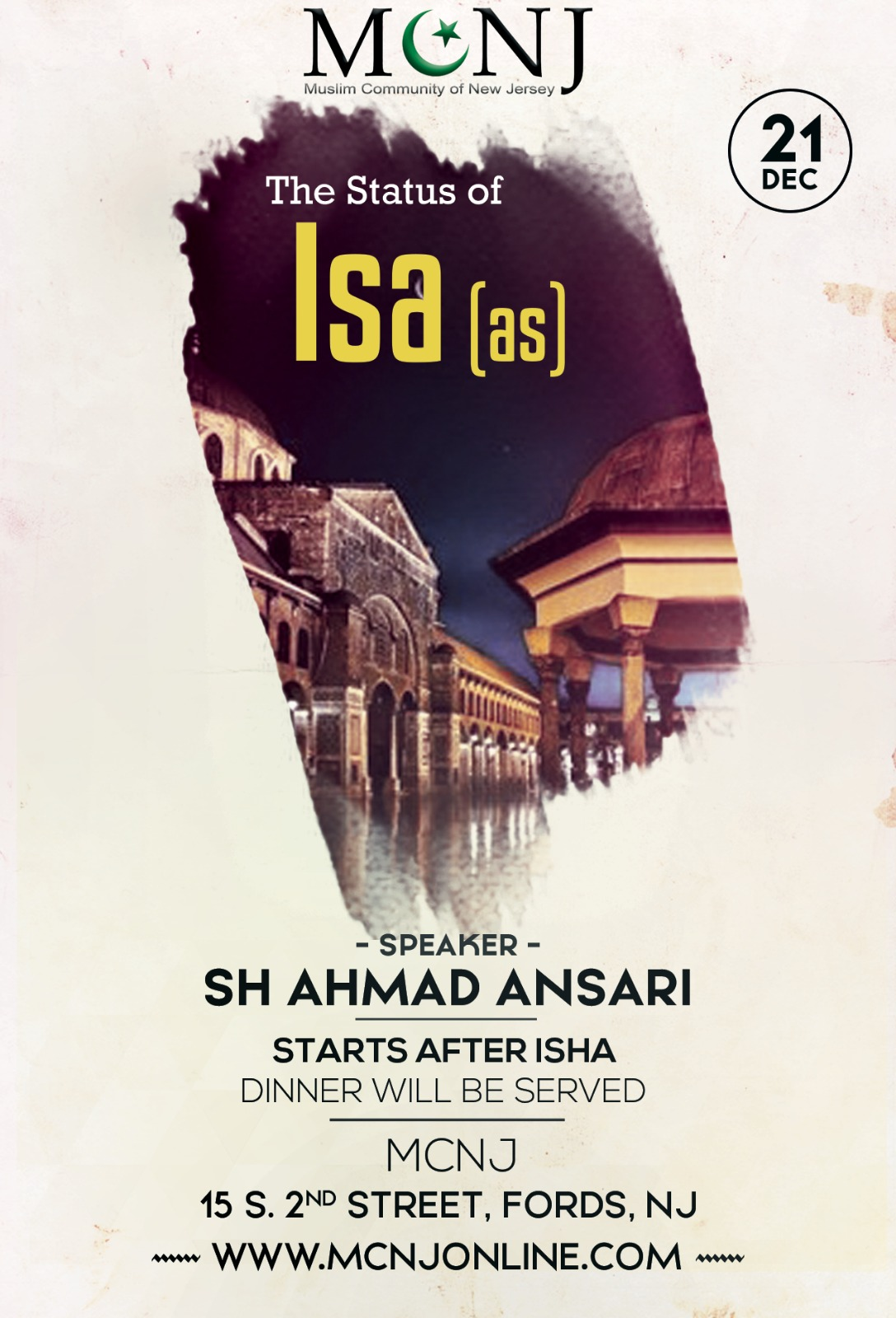Friday Night Lecture – The Status of Isa (as)
